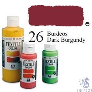 Vallejo Textile Color 026: Dark Burgundy 60 ml.