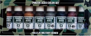 Vallejo Panzer Aces Color Set No 1: Rust, Tracks, Rubber (8 colors)