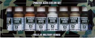 Vallejo Panzer Aces Color Set No 2: Wood, Leather, Stencil (8 colors)