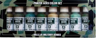 Vallejo Panzer Aces Color Set No 3: Allied Crew Uniforms (8 colors)
