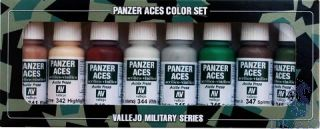 Vallejo Panzer Aces Color Set No 6: Skin Tone, Splinter Camouflage (8 colors)