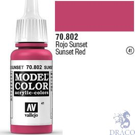 Vallejo 041: Modelcolor 802: Sunset Red 17 ml.