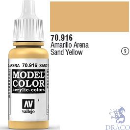 Vallejo 009: Modelcolor 916: Sand Yellow 17 ml.