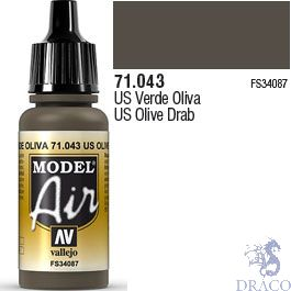Vallejo Model Air 043: US Olive Drab 17 ml.