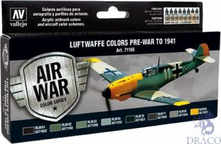 Vallejo Model Air Set 165: Luftwaffe Pre-War to 1941 (8 colors)