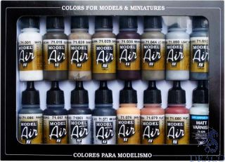 Vallejo Model Air Set 194: Weathering Set (16 colors)