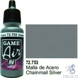 Vallejo Game Air 753: 17 ml. Chainmail Silver