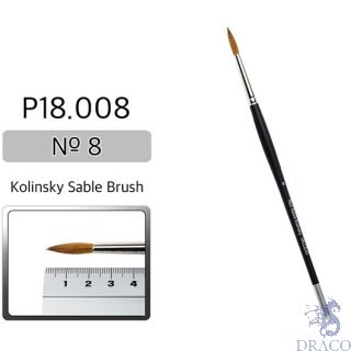 Vallejo Brush Series P518 / P18 - Red Sable Kolinsky No 8